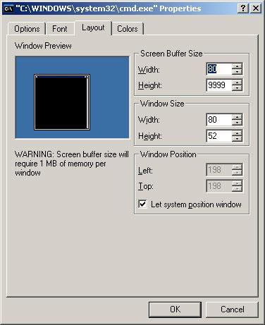 Windows CMD window properties