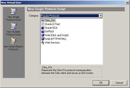 LoadRunner Vuser types - Popular Protocols