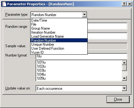 LoadRunner Parameter dialog. Random Number parameter