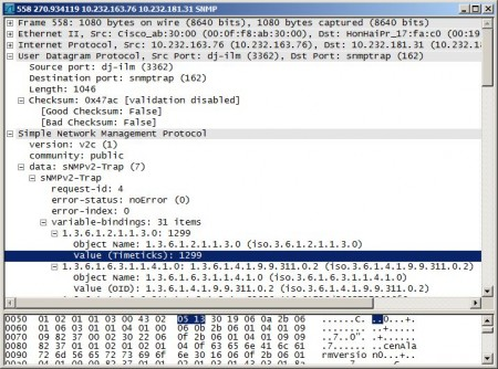 SNMP trap displayed in Wireshark