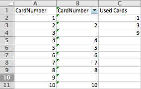 Remove used data using Excel