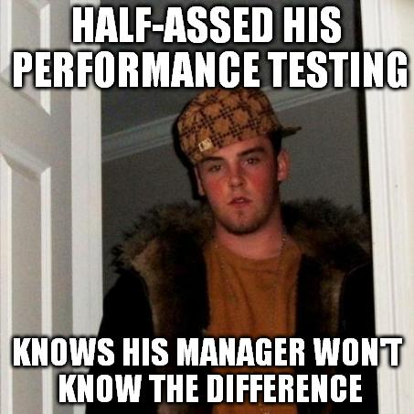 Scumbag Steve performance testing meme